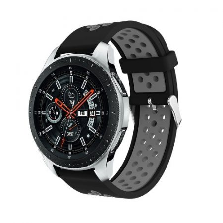 Pótszíj - Szilikon Óraszíj Samsung Galaxy Watch 46mm TwoTone Series Fekete/Szürke