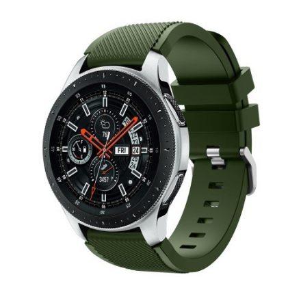 Szilikon Óraszíj - Pótszíj Samsung Galaxy Watch 46mm - Sport Style Series KatonaZöld