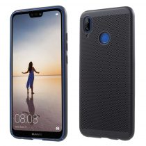 Huawei P20 Lite Hollow Mesh Style Tok Műanyag Fekete