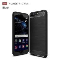 Huawei P10 Plus Szilikon Tok Ütésállókivitel Karbon Mintázattal Fekete