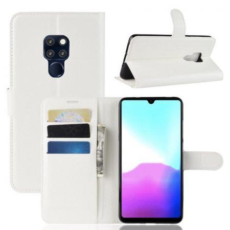 Huawei Mate 20 Notesz Tok Kitámasztható Kártyatartóval Business Series Fehér