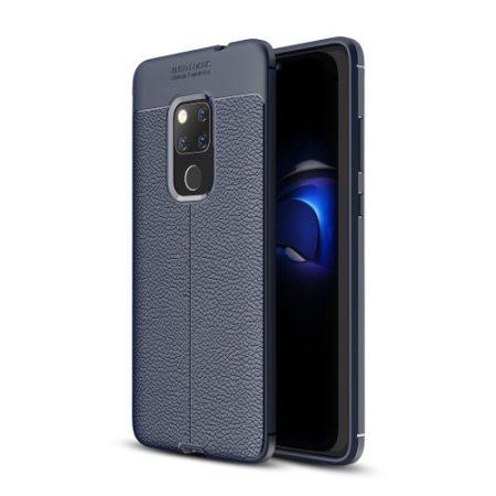Huawei Mate 20 Szilikon Tok Bőrmintázattal Sötétkék