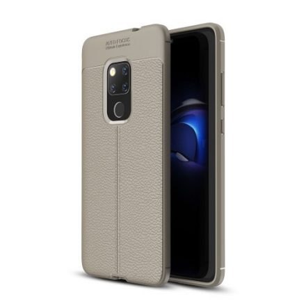 Huawei Mate 20 Szilikon Tok Bőrmintázattal Szürke