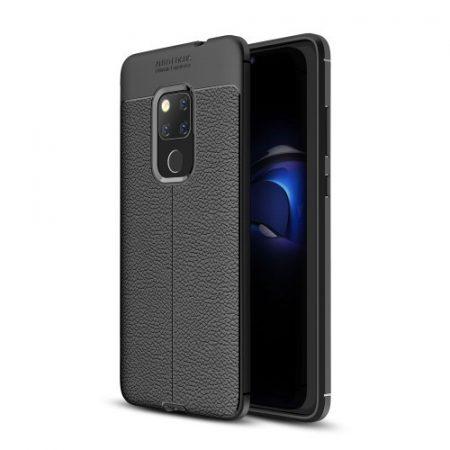Huawei Mate 20 Szilikon Tok Bőrmintázattal Fekete