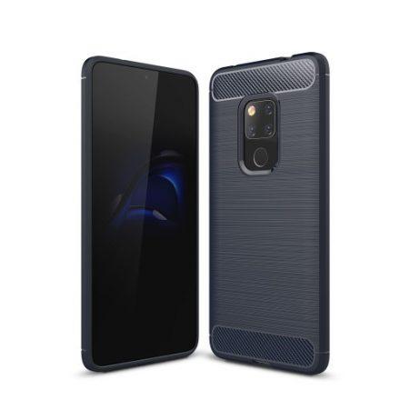 Huawei Mate 20 Tok Szilikon Ütésállókivitel Karbon Mintázattal Sötétkék