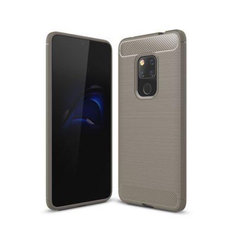 Huawei Mate 20 Tok Szilikon Ütésállókivitel Karbon Mintázattal Szürke
