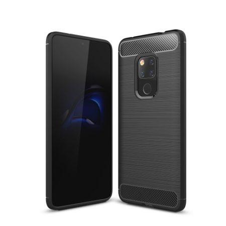 Huawei Mate 20 Tok Szilikon Ütésállókivitel Karbon Mintázattal Fekete
