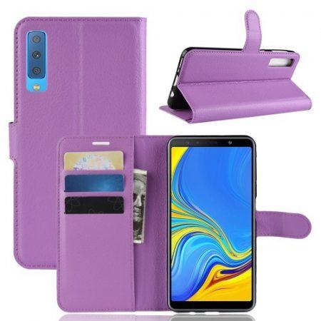 Samsung Galaxy A7 (2018) Notesz Tok Business Series Kitámasztható Bankkártyatartóval Lila