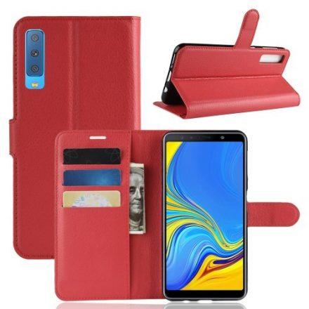 Samsung Galaxy A7 (2018) Notesz Tok Business Series Kitámasztható Bankkártyatartóval Piros