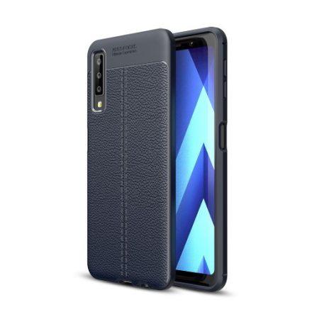 Samsung Galaxy A7 (2018) Szilikon Tok Bőrmintázattal TPU Prémium Sötétkék