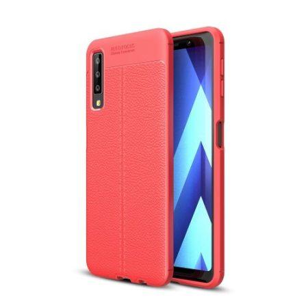 Samsung Galaxy A7 (2018) Szilikon Tok Bőrmintázattal TPU Prémium Piros