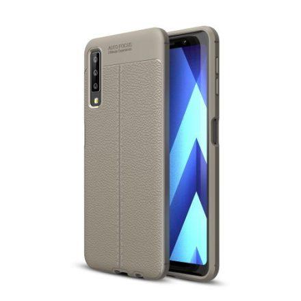 Samsung Galaxy A7 (2018) Szilikon Tok Bőrmintázattal TPU Prémium Szürke