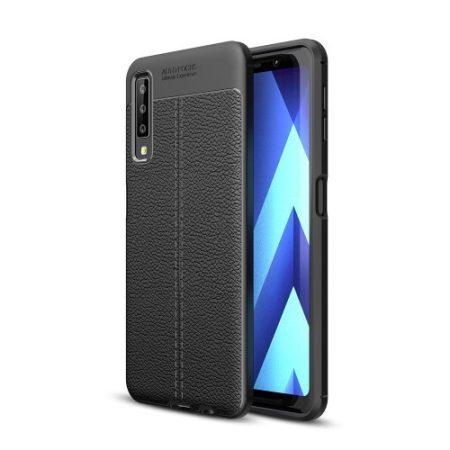 Samsung Galaxy A7 (2018) Szilikon Tok Bőrmintázattal TPU Prémium Fekete