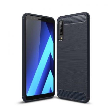 Samsung Galaxy A7 (2018) Szilikon Tok Ütésállókivitel Karbon Mintázattal Sötétkék
