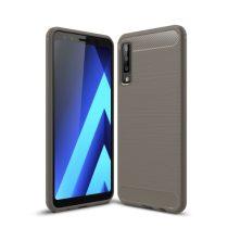Samsung Galaxy A7 (2018) Szilikon Tok Ütésállókivitel Karbon Mintázattal Szürke