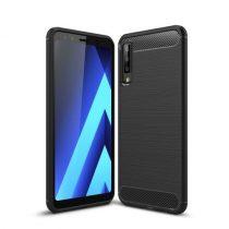 Samsung Galaxy A7 (2018) Szilikon Tok Ütésállókivitel Karbon Mintázattal Fekete