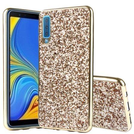 Samsung Galaxy A7 (2018) TPU Csillámló Szilikon Tok Glitteres Fényes Arany