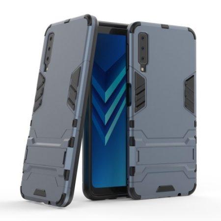 Samsung Galaxy A7 (2018) 2in1 Tok Ütésálló - Kitámasztható TPU Hybrid Sötétkék