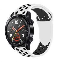 Huawei Watch GT Óraszíj - Szilikon Pótszíj Trendy Sport Style Fekete/Fehér
