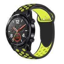 Huawei Watch GT Óraszíj - Szilikon Pótszíj Trendy Sport Style Fekete/Sárga