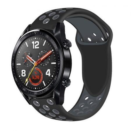 Huawei Watch GT Óraszíj - Szilikon Pótszíj Trendy Sport Style Fekete/Szürke