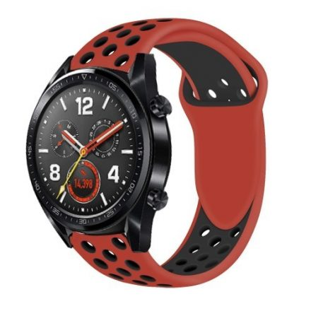 Huawei Watch GT Óraszíj - Szilikon Pótszíj Trendy Sport Style Piros/Fekete