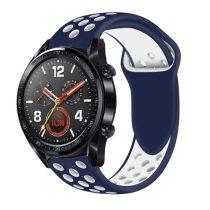 Huawei Watch GT Óraszíj - Szilikon Pótszíj Trendy Sport Style Kék/Fehér
