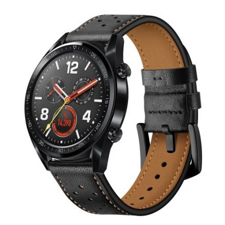 Huawei Watch GT Bőr Pótszíj - Óraszíj Fekete