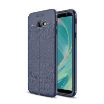 Samsung Galaxy J4+ / J4 Plus Szilikon Tok Bőrmintázattal TPU Prémium Sötétkék