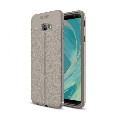 Samsung Galaxy J4+ / J4 Plus Szilikon Tok Bőrmintázattal TPU Prémium Szürke