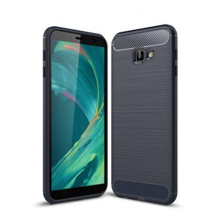 Samsung Galaxy J4+ / J4 Plus Szilikon Tok Ütésállókivitel Karbon Mintázattal Sötétkék