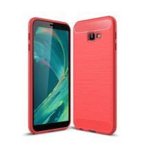 Samsung Galaxy J4+ / J4 Plus Szilikon Tok Ütésállókivitel Karbon Mintázattal Piros