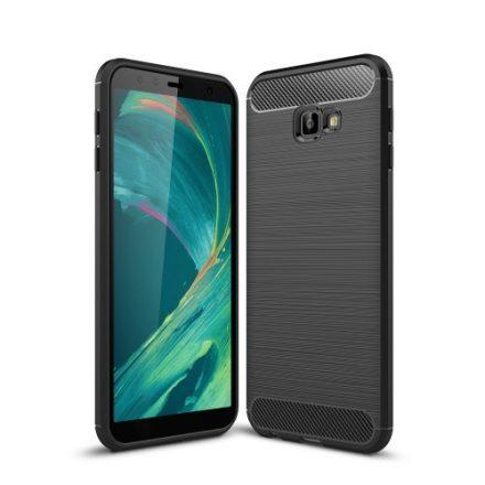 Samsung Galaxy J4+ / J4 Plus Szilikon Tok Ütésállókivitel Karbon Mintázattal Fekete