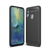 Huawei Honor 10 Lite Szilikon Tok Ütésállókivitel Karbon Mintázattal Fekete