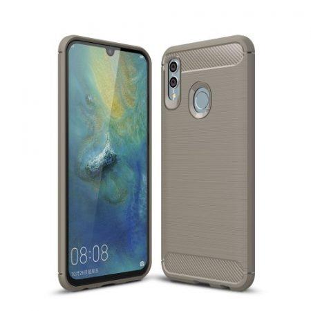 Huawei Honor 10 Lite Szilikon Tok Ütésállókivitel Karbon Mintázattal Szürke
