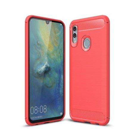 Huawei Honor 10 Lite Szilikon Tok Ütésállókivitel Karbon Mintázattal Piros