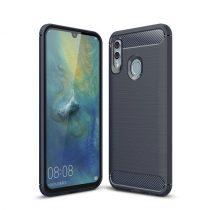 Huawei Honor 10 Lite Szilikon Tok Ütésállókivitel Karbon Mintázattal Sötétkék