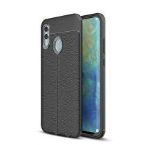Huawei Honor 10 Lite Szilikon Tok Bőrmintázattal TPU Prémium Fekete