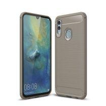 Huawei P Smart 2019 Szilikon Tok Ütésállókivitel Karbon Mintázattal Szürke