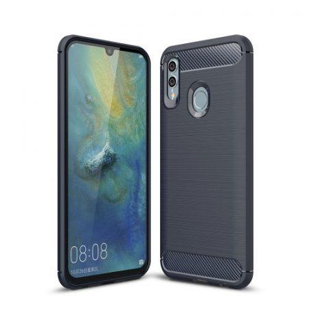 Huawei P Smart 2019 Szilikon Tok Ütésállókivitel Karbon Mintázattal Sötétkék