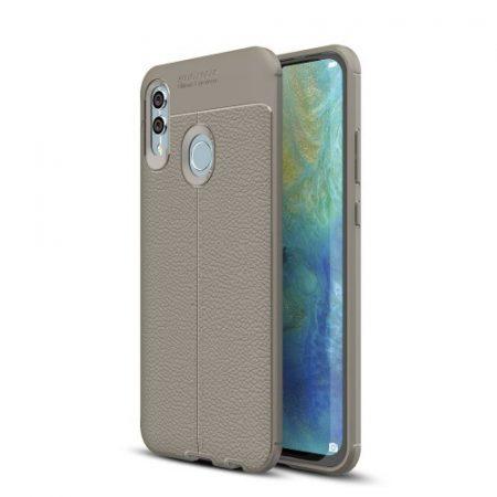 Huawei P Smart 2019 Szilikon Tok Bőrmintázattal TPU Prémium Szürke