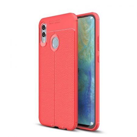 Huawei P Smart 2019 Szilikon Tok Bőrmintázattal TPU Prémium Piros