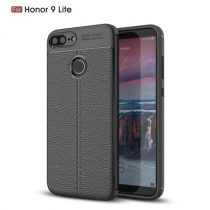 Huawei Honor 9 Lite Szilikon Tok Bőrmintázattal TPU Prémium Fekete