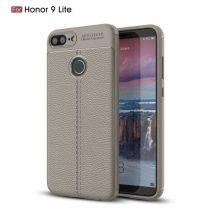 Huawei Honor 9 Lite Szilikon Tok Bőrmintázattal TPU Prémium Szürke