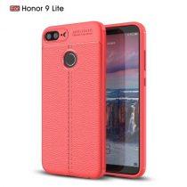 Huawei Honor 9 Lite Szilikon Tok Bőrmintázattal TPU Prémium Piros
