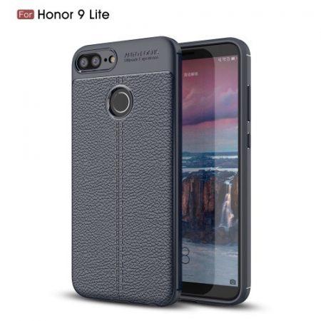 Huawei Honor 9 Lite Szilikon Tok Bőrmintázattal TPU Prémium Sötétkék