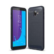 Samsung Galaxy J6+ / J6 Plus Szilikon Tok Ütésállókivitel Karbon Mintázattal Sötétkék