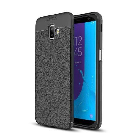 Samsung Galaxy J6+ / J6 Plus Szilikon Tok Bőrmintázattal TPU Prémium Fekete