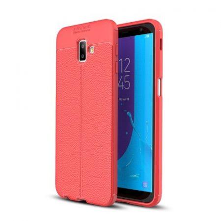 Samsung Galaxy J6+ / J6 Plus Szilikon Tok Bőrmintázattal TPU Prémium Piros
