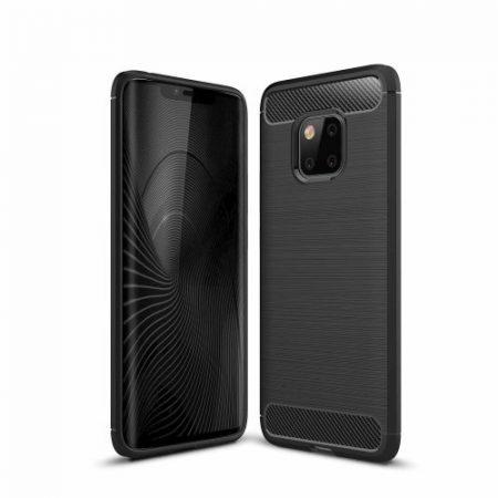 Huawei Mate 20 Pro Szilikon Tok Ütésállókivitel Karbon Mintázattal Fekete
